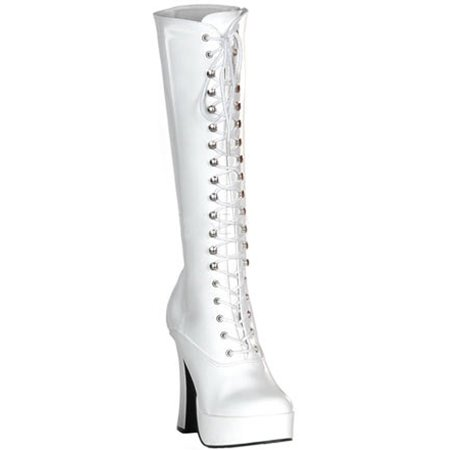 5 Inch Sexy Knee High Boots With Zipper Chunky Heel Platform White White Platform Boot