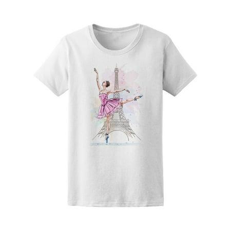 Eiffel Tower Pajamas (Ballerina Posing On Eiffel Tower Tee Women's -Image by)