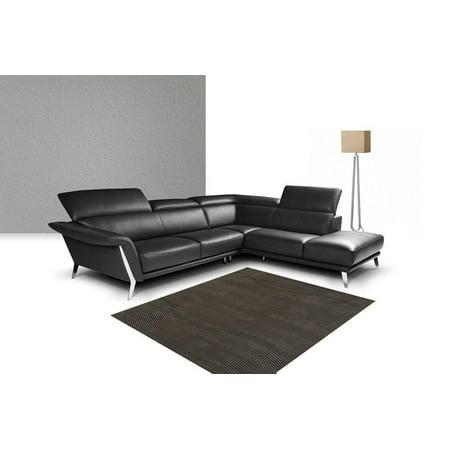 Premium Black Leather Sectional Sofa Modern by Nicoletti J&M Heni Contemporary