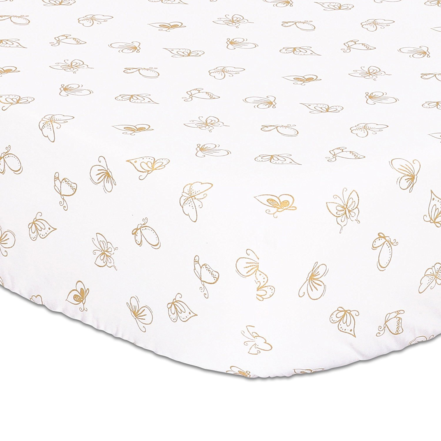 Gold Butterfly Fitted Crib Sheet by, This Peanut Shell Cotton Fitted Crib Sheet is a stylish addition to your baby's nursery with a fun gold butterfly.., By The Peanut Shell Ship from US