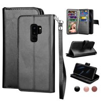 Wallet Cases For Samsung Galaxy S10 / S10E / S10+ / S10 Plus / S9 / S9+ / S9 Plus, Njjex [Wrist Strap] Luxury PU Leather Wallet Flip Protective Case Cover with 9 Card Slots & KickStand -Black