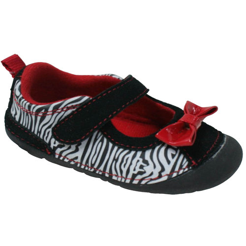 Healthtex Baby Girls' Soft Casual Shoes, Black/Red