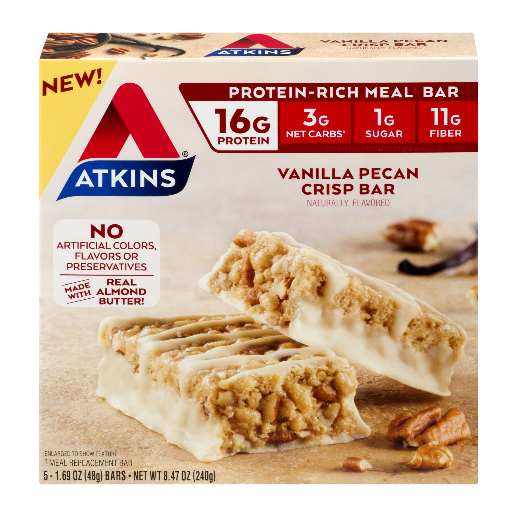 Atkins Protein-Rich Meal Bar Vanilla Pecan Crisp Bar - 1.7oz, 5-pack (Meal Replacement)