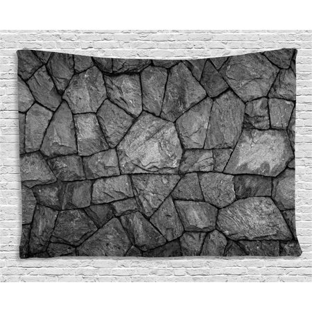Grey Tapestry, Stone Wall Texture Image Rough Rusty Blocks Obsolete Structure Antique Grunge Weathered, Wall Hanging for Bedroom Living Room Dorm Decor, 60W X 40L Inches, Grey, by Ambesonne