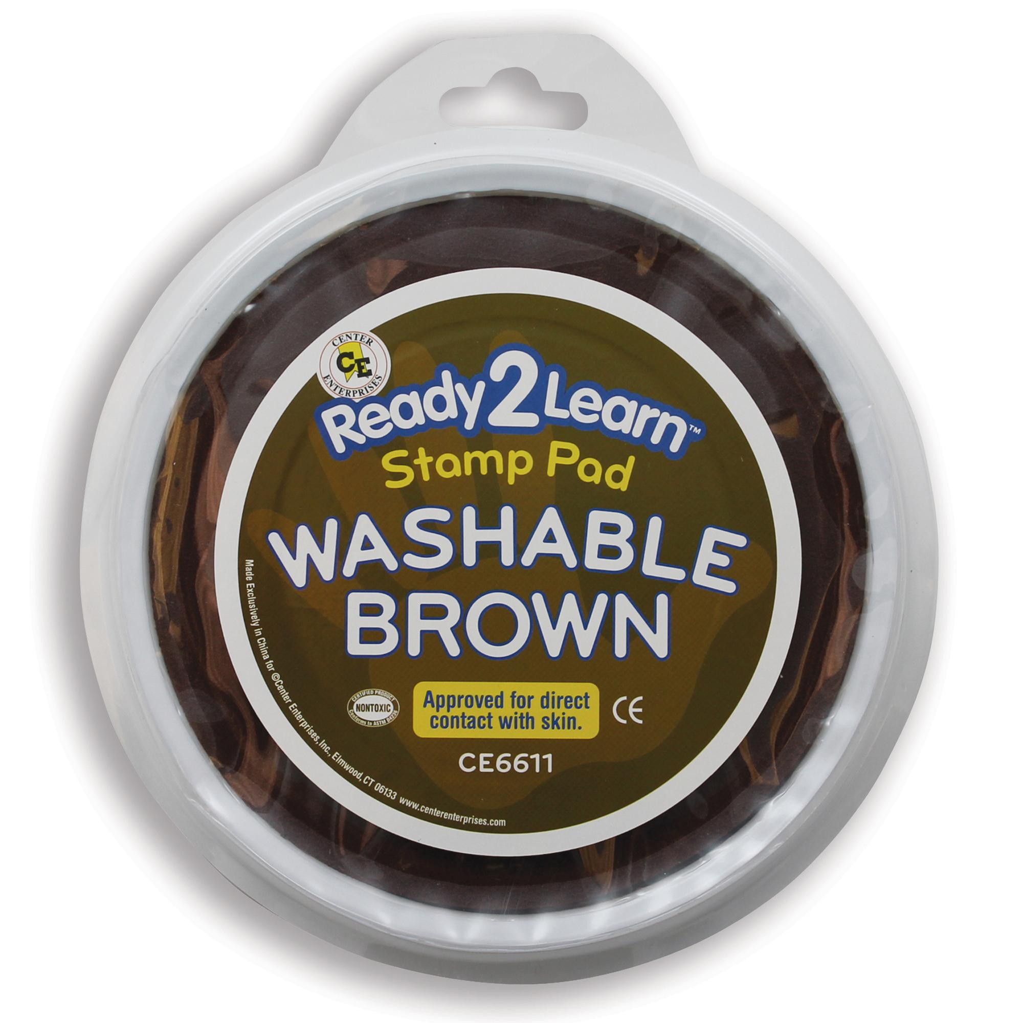 Jumbo Circular Washable Paint/Ink Pad, Brown, Set of 6