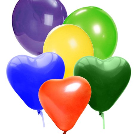 Party Balloons 12 Inches Assorted Color (150 Pack), Mixed Round Shaped Heart Shaped Balloon Mix Bulk Latex Balloons