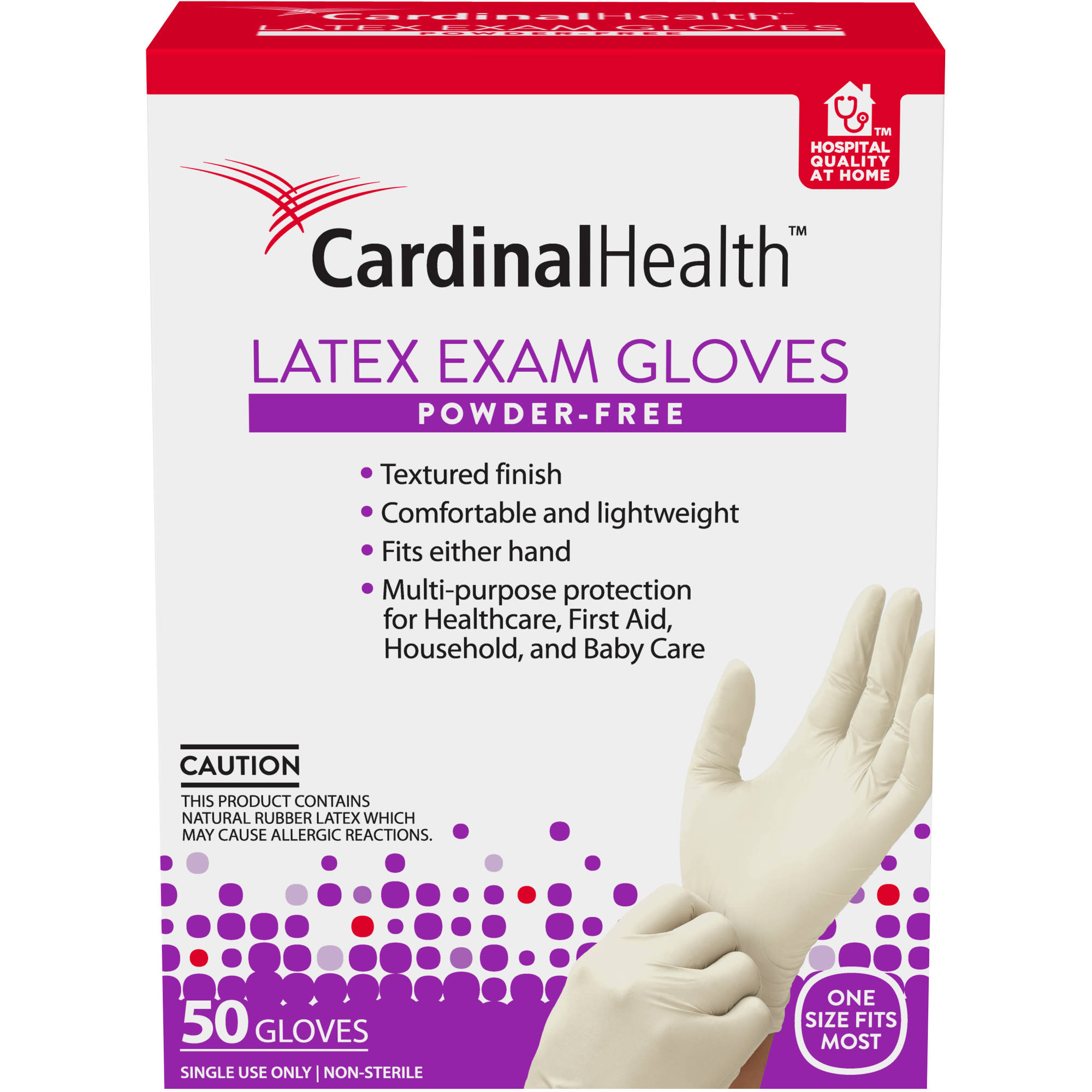 Cardinal Health Powder-Free Latex Exam Gloves, 50 count