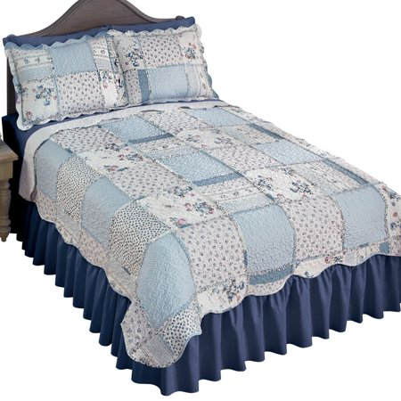Floral Scallop - Olivia Floral Ruffle Trim Patchwork Quilt Coverlet with Scalloped Edge, King, Blue Multi
