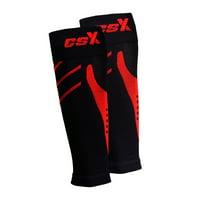 CSX Calf Sleeves, 15-20 mmHg Compression, Red on Black, Medium