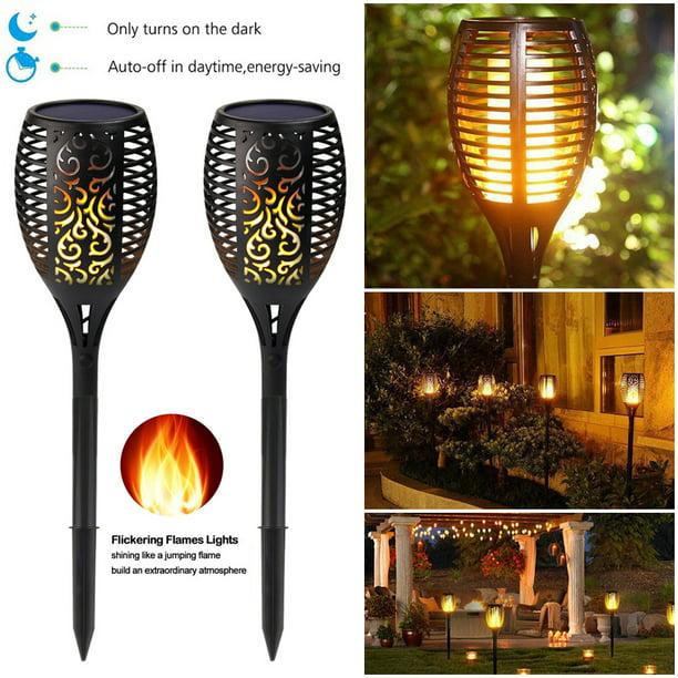 1-10 Pack Solar Torch Light 12 LED Flickering Lighting Dancing Flame Garden Lamp