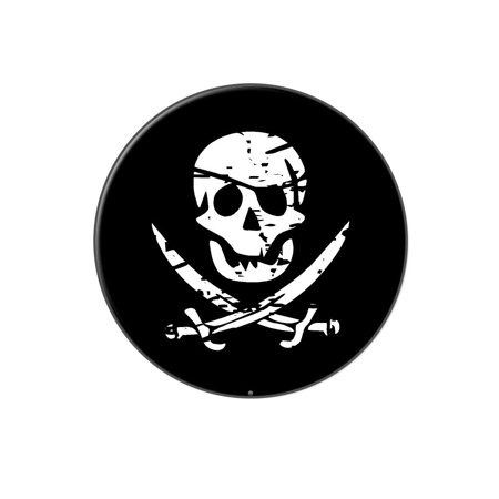 3a4573a535e107 Pirate Skull Crossed Swords Lapel Hat Pin Tie Tack Large Round