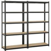 Topeakmart 2pcs 71''H Metal Storage Rack 5 Adjustable Shelves Boltless Shelving 386LB Capacity for Each Shelf Black