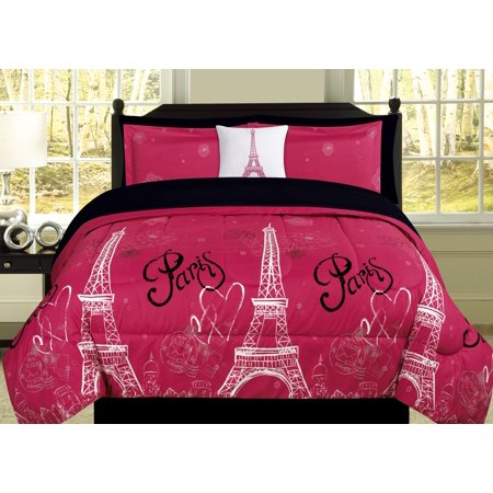Queen Paris Comforter Pink Black White Eiffel Tower Bedding and Sheet 8 Piece Bed in a Bag Set