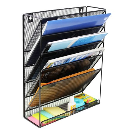 Wall Mounted File Hanging Organizer - 5 Pocket Metal Mesh Office Folder Home Binder Holder Magazine Mail Rack + Hardware, Black