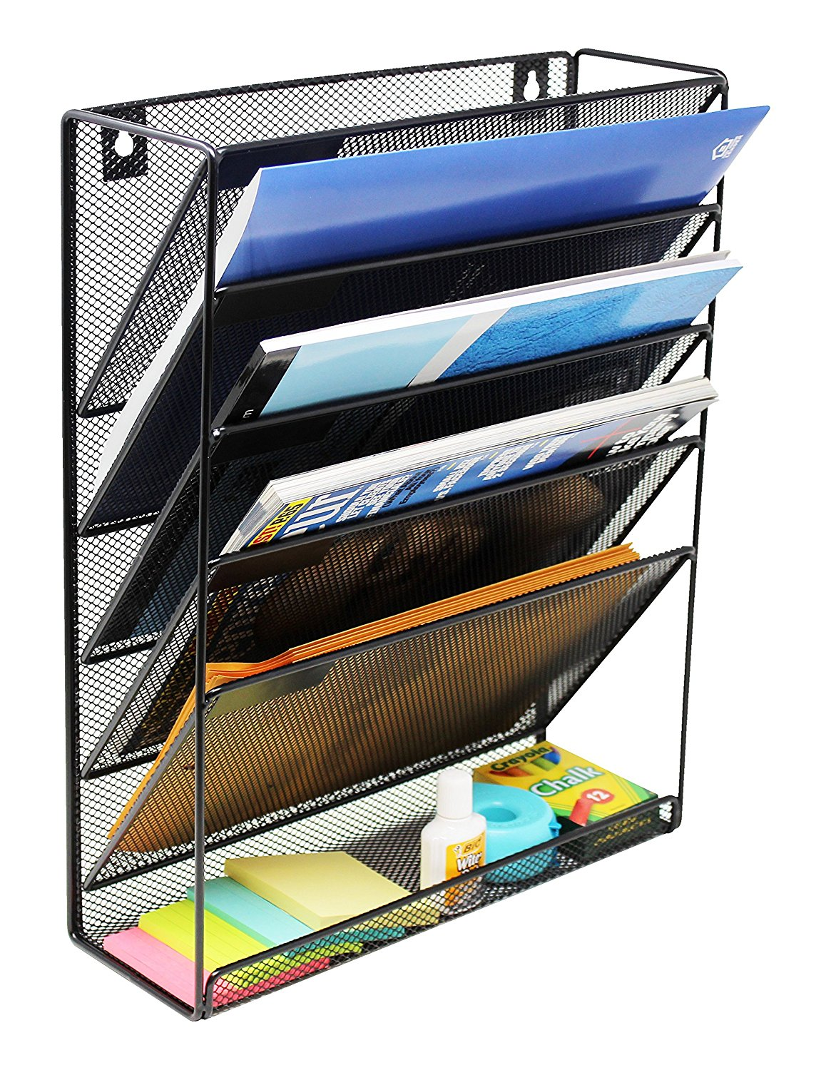 Wall Mount File Organizer Holder Metal Mesh Magazine Rack For Office And  Study Room, 5