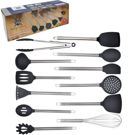12 Piece Silicone and Stainless Steel Kitchen Cooking & Serving Utensil Set ()