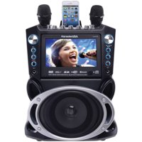 Karaoke USA GF840 Complete Bluetooth Karaoke System - 35 Watt Power Output includes 2 Microphones, Remote Control, 7? Color Screen, Record Function. Plays DVD/CDG/MP3G / USB /SD