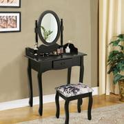 Costway Vanity Wood Makeup Table Stool Jewelry Desk White/Black