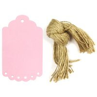 Wrapables® 50 Gift Tags/Kraft Hang Tags with Free Cut Strings for Gifts, Crafts & Price Tags, Large Scalloped Edge (Pink)