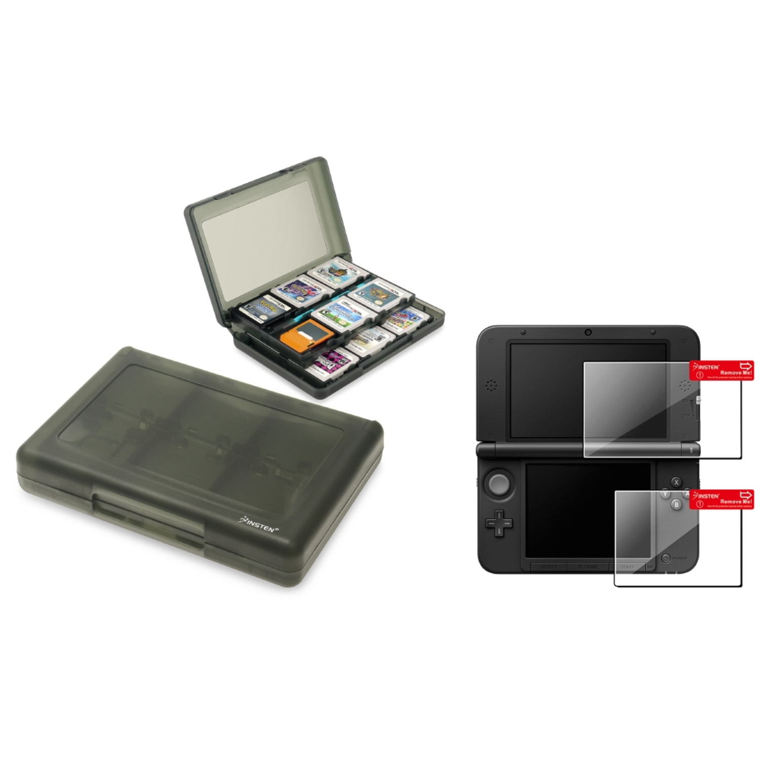 Insten Smoke 28-in-1 Card Case + Top & Bottom LCD Screen Protector Kit For Nintendo NEW 3DS XL LL / 3DS XL LL