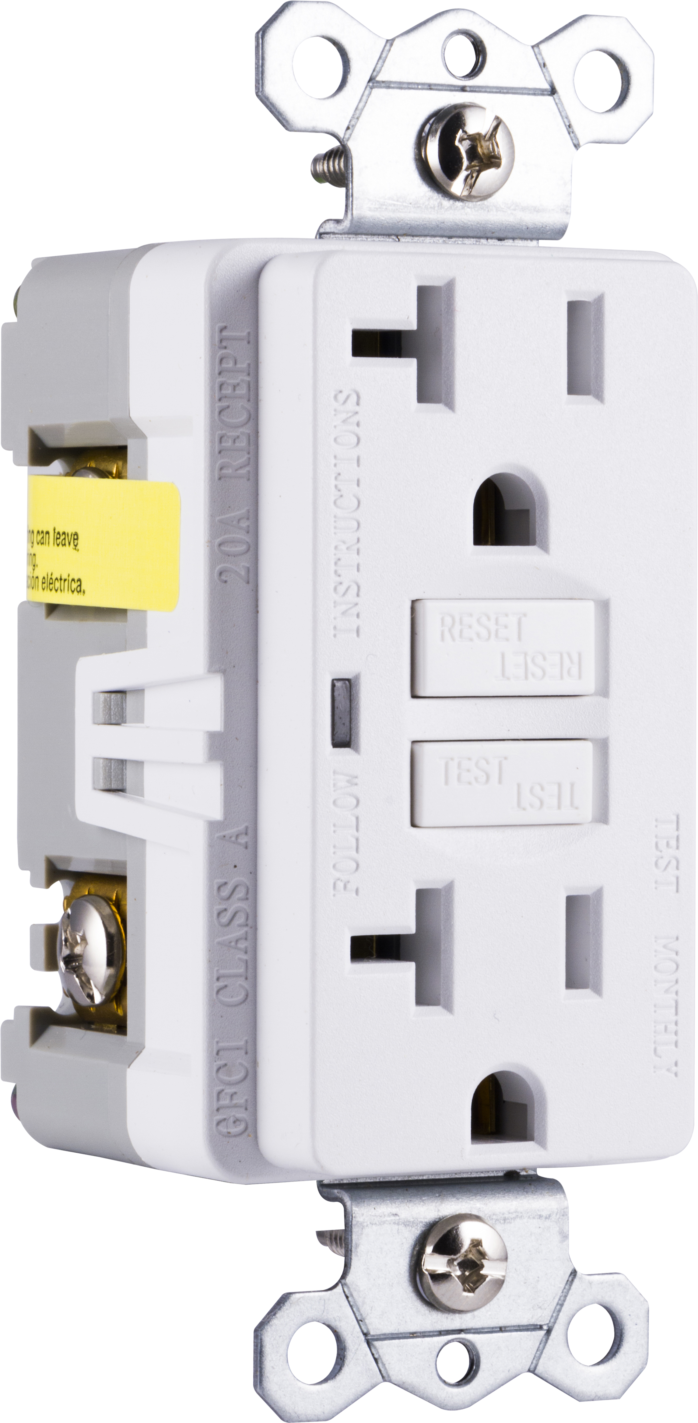 Ge Ultrapro In Wall Gfci Receptacle Power Outlet 20amp Self Testing 15 Amp On 20 Circuit White 32077