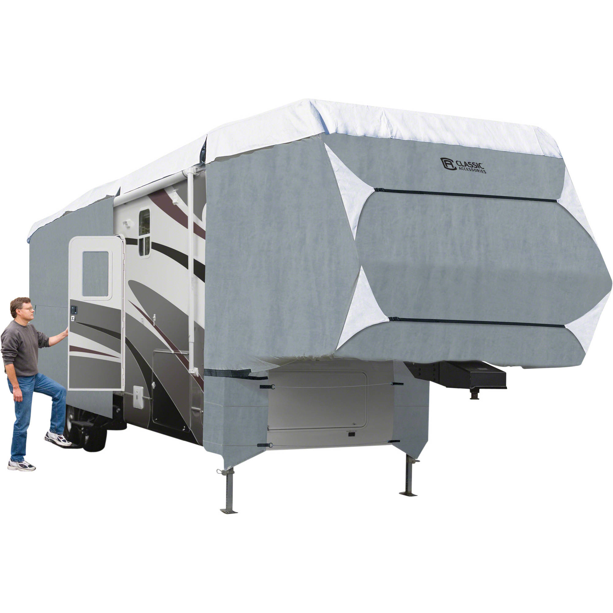Classic Accessories PolyPro 3 Deluxe 5th Wheel RV Storage Cover, Grey, Fits 26'-29'