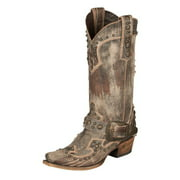 Lane Western Boots Women Your Harness Studded Distressed Brown LB0225B