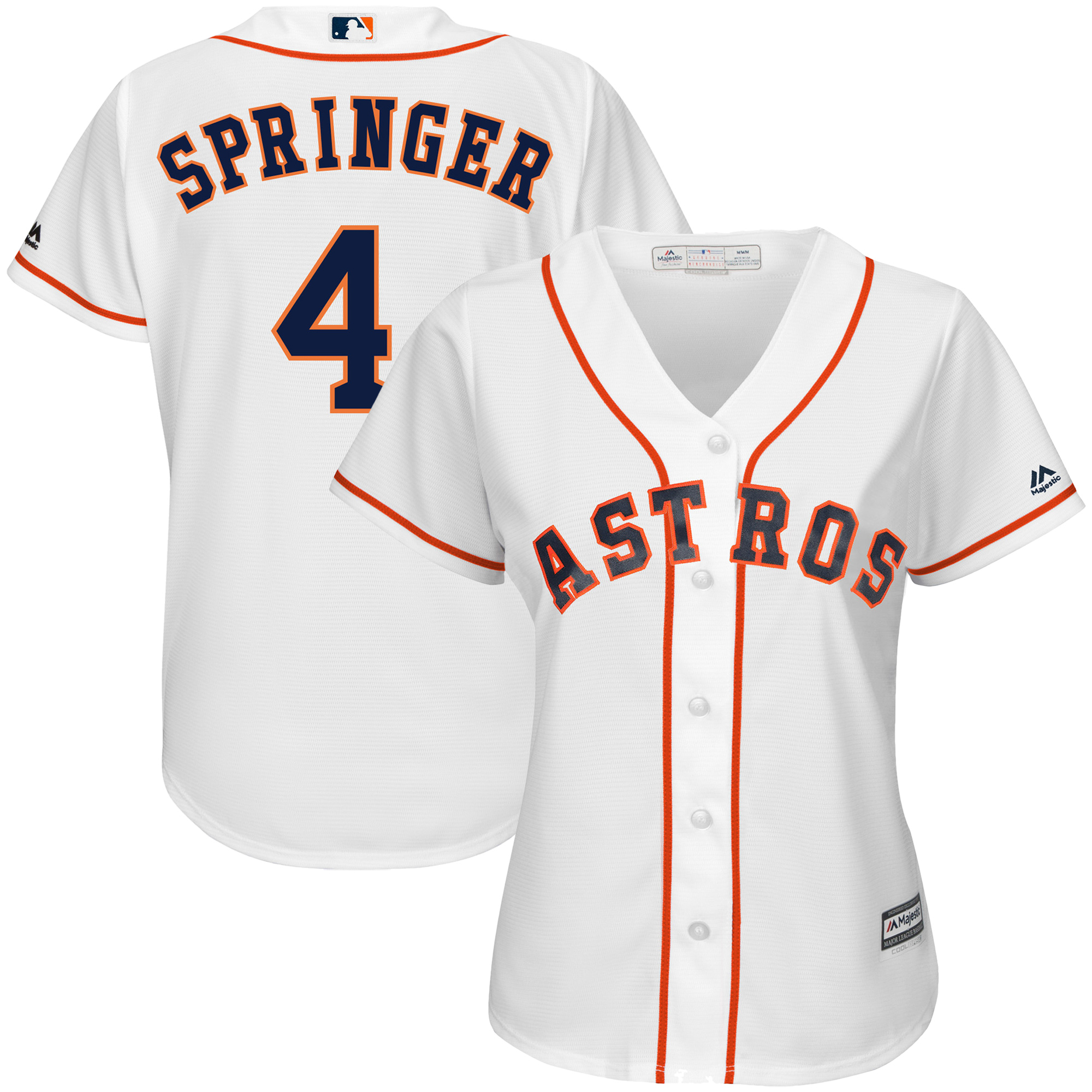 competitive price a12d8 8feec George Springer Houston Astros Majestic Women's Team Cool Base Player  Jersey - White