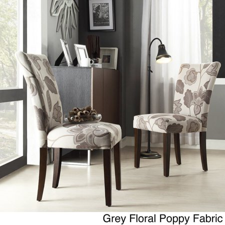 Terrific Catherine Print Parsons Dining Side Chair Grey Floral Poppy Fabric Set Of 2 Creativecarmelina Interior Chair Design Creativecarmelinacom