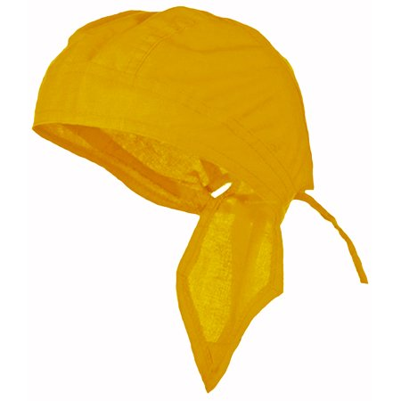 Yellow Doo Rag Durag Chemo Headwrap Solid Color Bandana Cotton Skull Cap Mens Womens - Gold Bandanas
