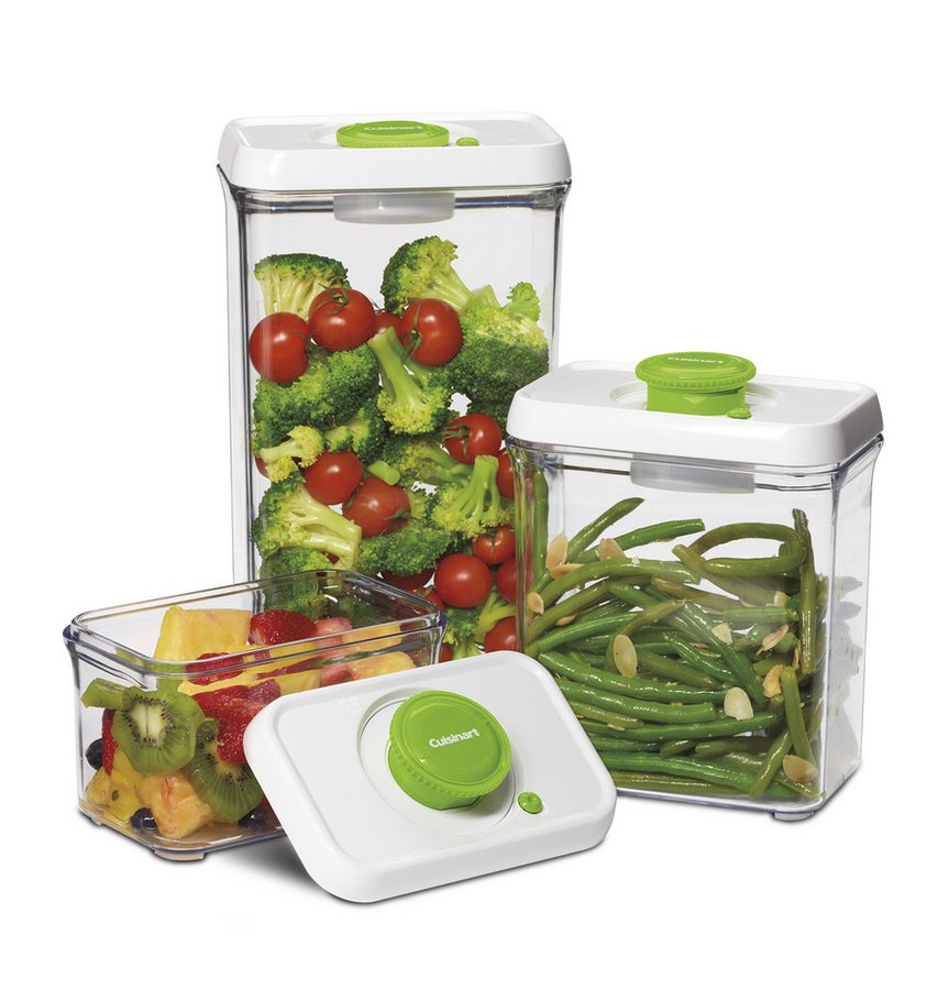 Fresh Edge™ 6 Piece Vacuum Sealed Food Storage Containers, Green