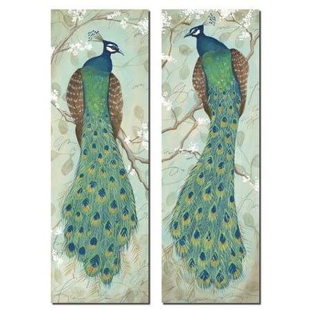2 Decorative Painting (Classic Decorative Peacocks; Reproductions of Two Beautiful Botanical Paintings; Two 6x18 Unframed)