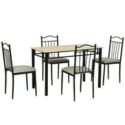 HOMCOM 5 Piece Dining Table and Chairs Set Wood Top Metal Frame Padded Seat Dining Table Set Home Kitchen Dining Room Furniture, Black