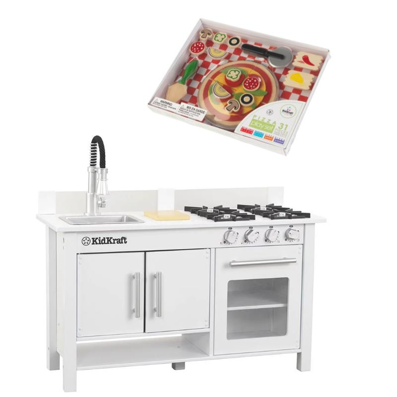 Kids Play Kitchen Set in White with Pizza Play Set