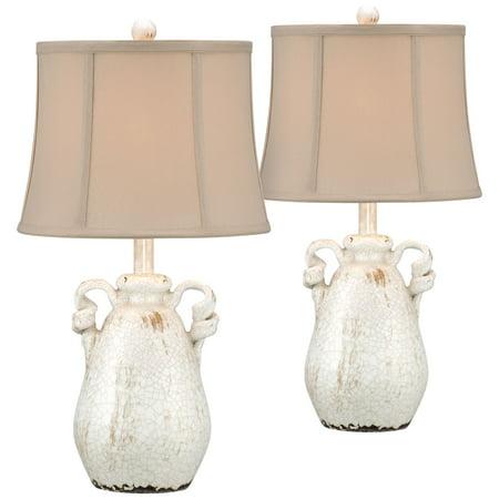 Beige Crackle Finish - Regency Hill Cottage Table Lamps Set of 2 Ceramic Crackled Farmhouse Ivory Jar Beige Bell Shade for Living Room Family Bedroom