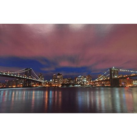 New York City Between Bridges - Manhattan and Brooklyn Bridges By Wil Sparks 36x24 Skyline Photograph Art Print Poster NYC Night