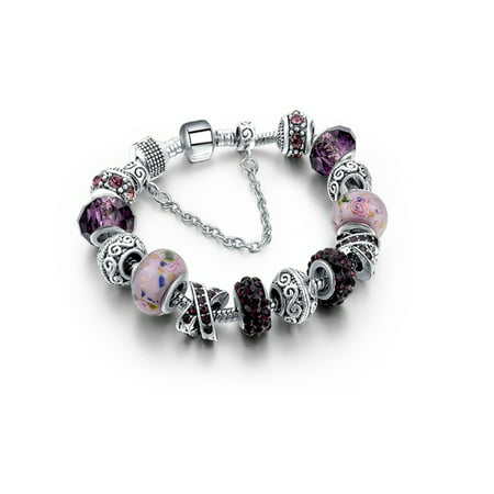 - Amethyst Murano Glass And Crystal Charm Bracelet