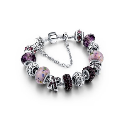 Amethyst Murano Glass And Crystal Charm Bracelet