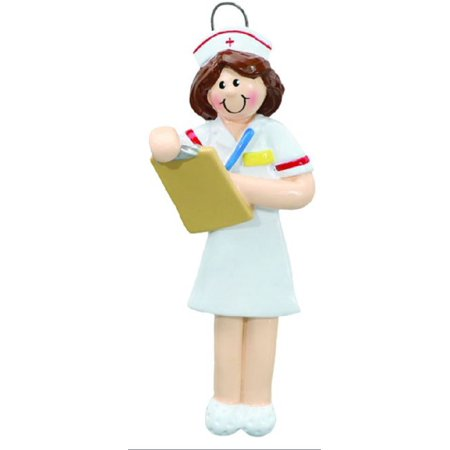 Nurse with Brown Hair Christmas Tree Ornament Medical Nursing Decoration New