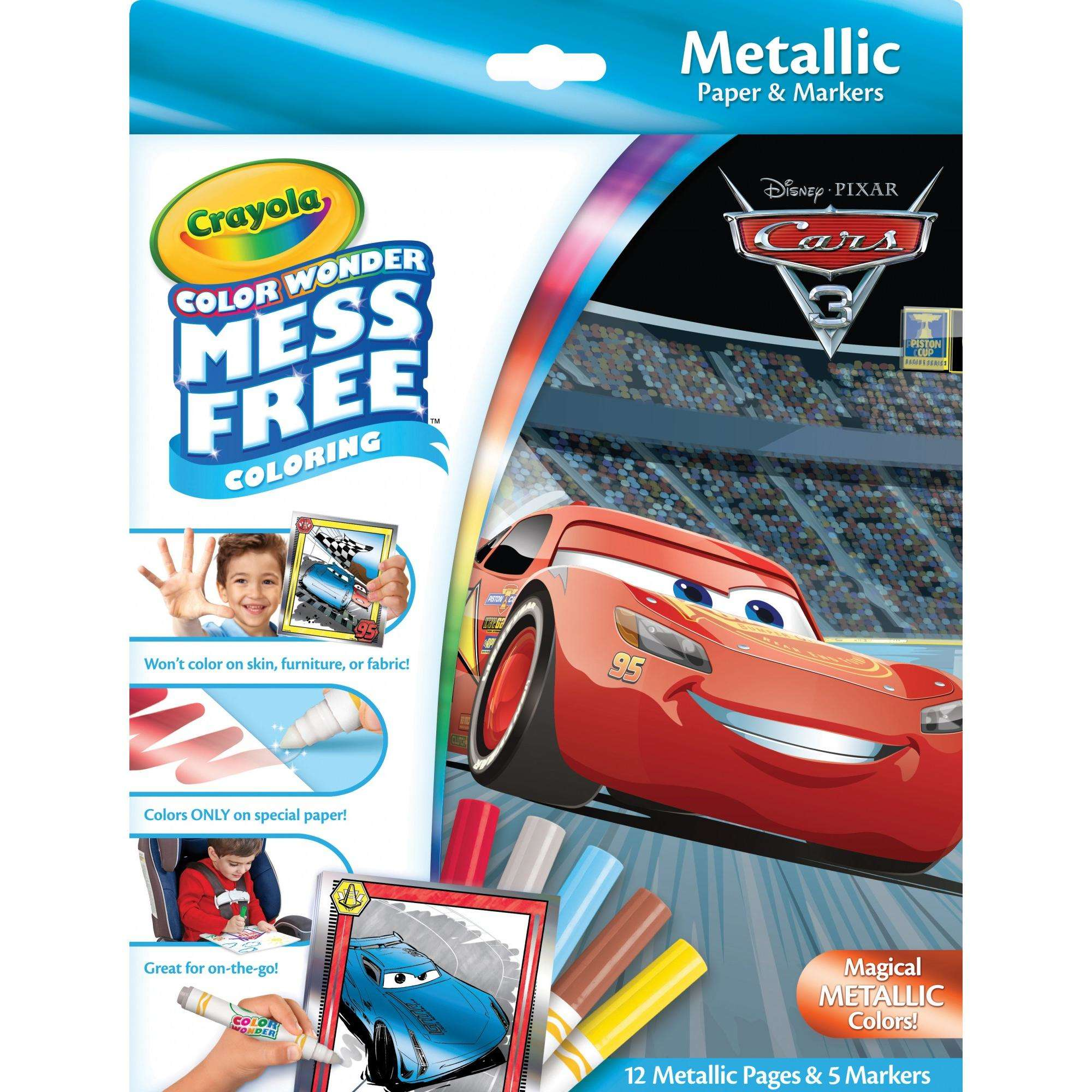 Crayola Color Wonder Cars Coloring Set, Mess Free Markers, 12 Pages by Crayola