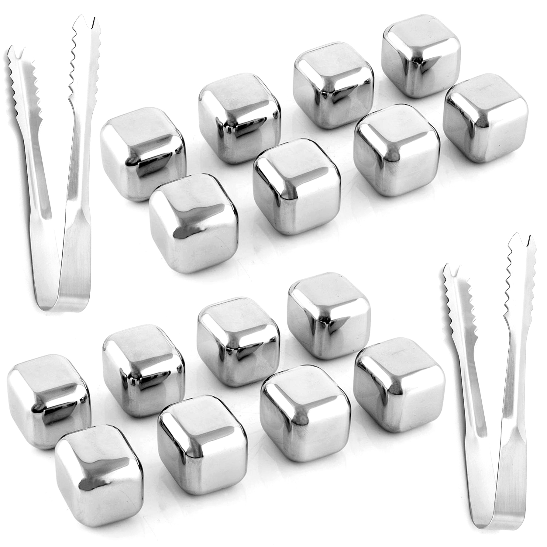 Healthpro Stainless Steel Ice Cubes Chilling Stones Rocks Reusable with Tong for Whiskey, Wine, Beverage Drinks, Set of 16 PCs