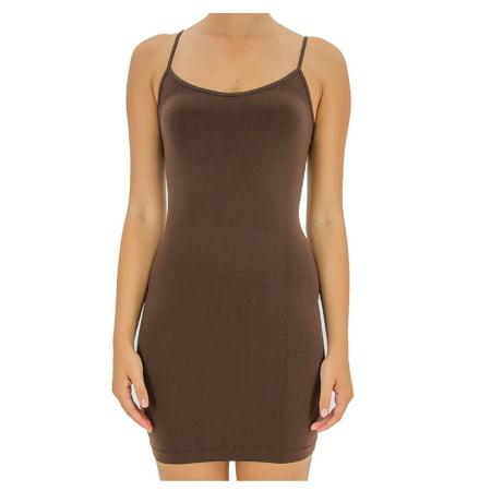 7c530c91885b78 TD Collections - Women's Basic Seamless Camisole Slip Dress - Long ...