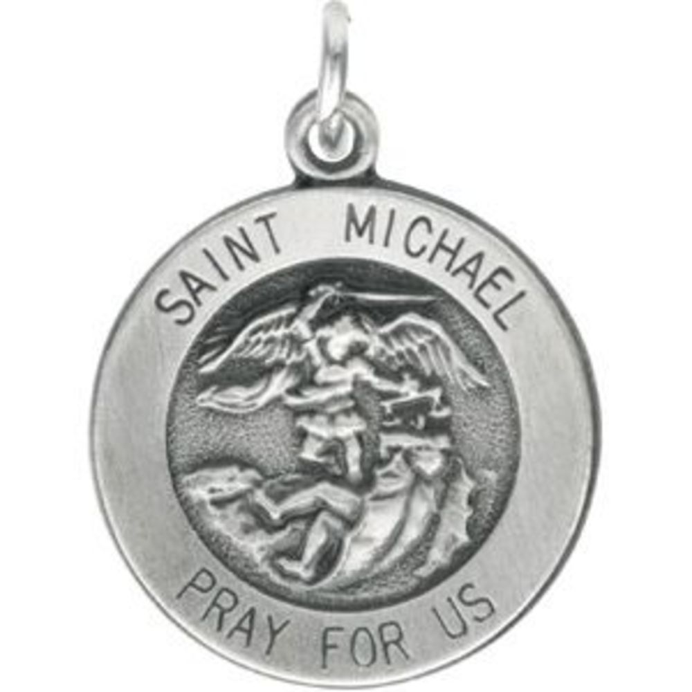 14.5mm Round St. Michael Medal in Sterling Silver