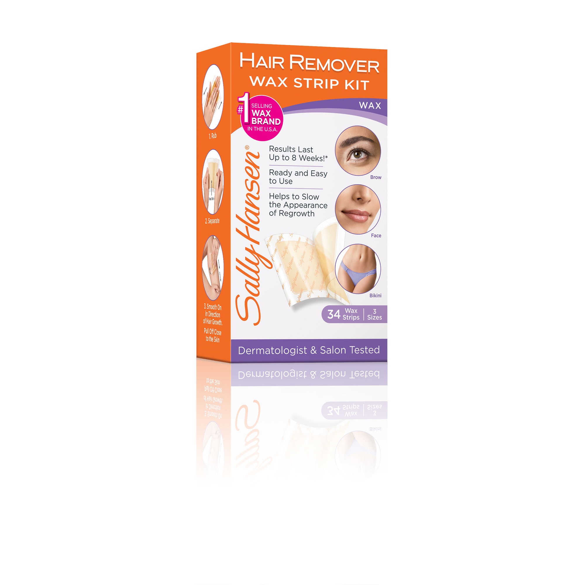 Sally Hansen Hair Remover Wax Strip Kit For Face Brows Bikini