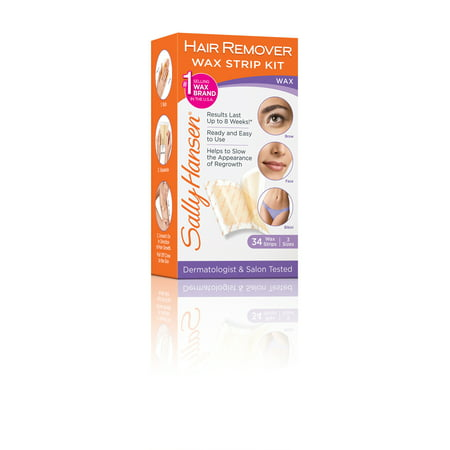 Sally Hansen Hair Remover Wax Strip Kit for Face, Brows &