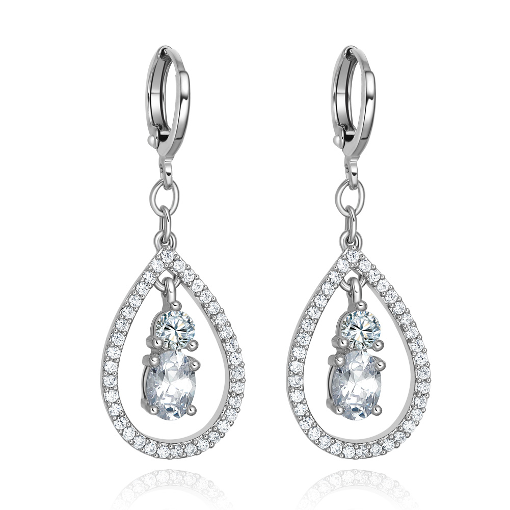 Fancy and Amazing Teardrop Lucky Charms Silver-Tone Snow White Sparkling Crystals Fashionable Earrings