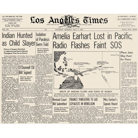 Earhart La Times 1937 Nfront Page Of The Los Angeles Times 3 July 1937 Announcing The Disappearance Of Amelia Earharts  1898 1937  Plane Rolled Canvas Art     18 X 24