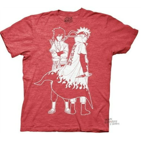 Naruto Shippuden Naruto And Sasuke Outline Adult T-Shirt