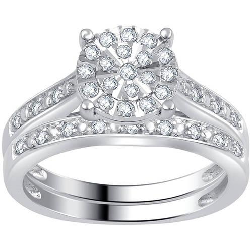 Forever Bride 1/3 Carat T.W. Diamond Sterling Silver Composite Bridal Set