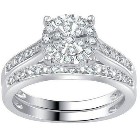 Composite Set (1/3 Carat T.W. Diamond Sterling Silver Composite Bridal Set)